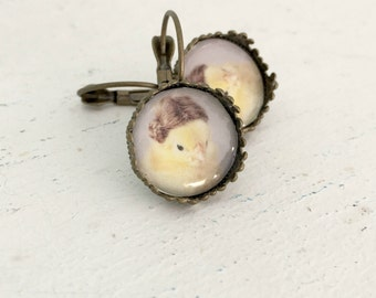 Chicken Wearing A Miniature Wig Chicken Earrings Chicks in Hats Baby Animal Photography