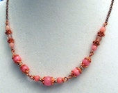 Necklace Copper Morganite and Pink Quartz Gemstones and Czeck Crystal 19 Inch