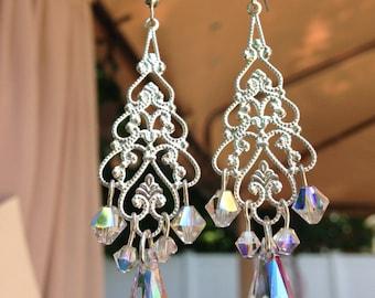 Chandelier Earrings, Bridal Earrings, Pagent Earrings, Swarovski Crystal Earrings , Long Earrings