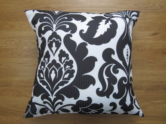 Modern Glam Pillows : Items similar to Black White Floor Pillow, Modern Damask Pillow Cover, 24x24 Glam Pillow Cover ...
