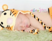 Crochet Tiger Hat - Baby Tiger Hat - Newborn Photo Prop - Baby Hat - Newborn Crochet Hat - Character Tiger Hat - Tiger Halloween Costume Hat