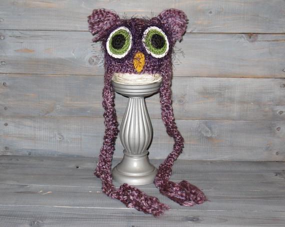 Newborn Purple Owl Crochet Hat with braids, photo prop, fuzzy