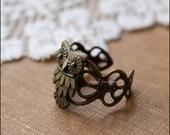 Owl Ring, Adjustable Ring