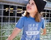 Live in the Sunshine Pigment Dye Raw Edge Kids Tee Sea Blue