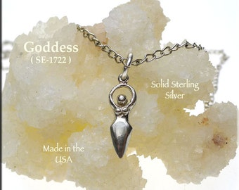 Sterling Silver Goddess Charm Necklace, .925 Small Goddess Jewelry, Lunar Goddess Pagan and Wiccan Jewelry - SE-1722