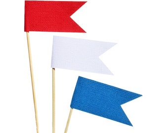 Patriotic Flag Cupcake Toppers /  Red White and Blue Cupcake Toppers - Fourth of July Cupcake Toppers - Independence day Cupcake Toppers