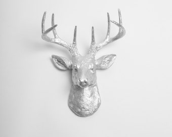 Deer Head - The MINI Hesher - Silver Resin Deer Head- Stag Resin Silver Faux Taxidermy- Chic & Trendy