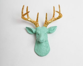 Faux Deer Head - The MINI Arnie - Seafoam Green W/ Gold Glitter Antlers Resin Deer Head- Stag Resin White Faux Taxidermy