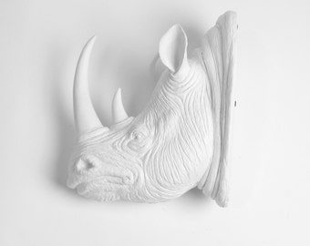 XL White Resin Rhino Head - The Goliath - White Faux Taxidermy - Faux Taxidermy - Rhino Resin White Faux Taxidermy- Chic & Trendy