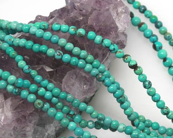 120 pcs 3-3.5mm Genuine Chinese Natural Turquoise Round Loose Beads (BH4965)