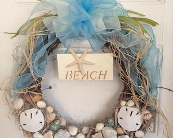 Beach Wreath, Summer Shell Wreath,  Sand dollar - Starfish Wreath, Nautical Decor, Beach House Decor