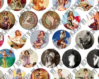 Retropolis 1 inch Collection - Vintage Pin Up Girls - Digital Collage Sheet - Gil Elvgren - Mucha -  1 Inch Circles (72 Images 1 x A4)