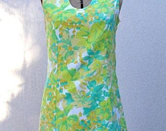 60s Bright Green Mini Dress, s/m