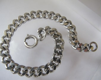 German Silver Tone Curb Link Chain Bracelet, perfect for Charms/ Vintage/ Stamped Germany/ Solid Metal Chain Link Charm Bracelet/Gifts Girls