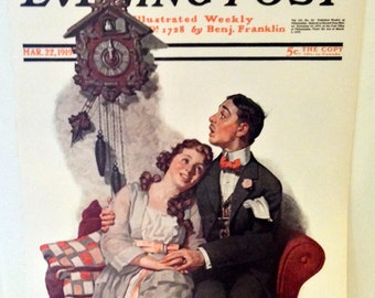 """Norman Rockwell Saturday Evening Post Cover Fine Art Poster Print """"Courting Under the Clock at Midnight"""""""