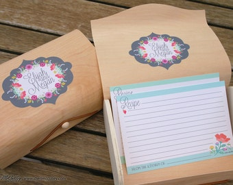 Recipe Cards, Floral Cards, Signature Fragrance Wedding Recipe Card Set and Personalized Label