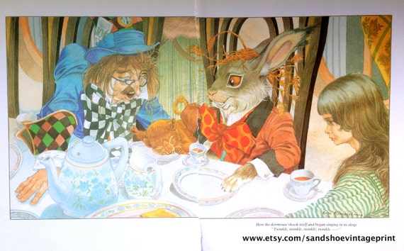 alice and the mad hatter litho graphic printing stones