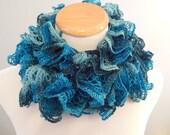 Variegated Blues Ruffle Fashion Scarf