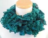 Deep Aquamarine Ruffle Fashion Scarf