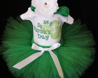 St. Patrick's Day Tutu - My First St. Patrick's Day Bodysuit Lucky Shamrock - 1st St Patricks Day - Irish - St. Paddy Day - StPHP1524