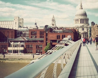 Millennium Bridge - photo of London, travel photography, England photograph, St. Paul's Cathedral, wall art