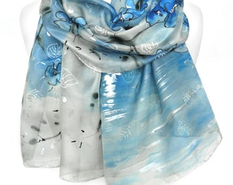 Hand Painted Scarf. Anniversary Birthday Gift for Her. Silk Blue Silver Scarf. Lake Reflection. Genuine Silk Art. 18x71in MADE to ORDER