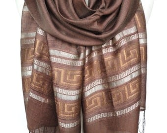 Chocolate Brown Scarf. Sparkling Shawl. Meander Design. Metallic Scarf. Brown Shawl. Greek Lines Scarf. 20x70in (50x180cm) Ready2Ship.