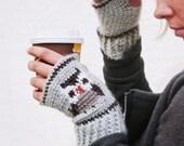 Crochet PATTERN- Crochet Owl Fair Isle Tapestry Crochet Mitts Pattern-Crochet Mittens Pattern
