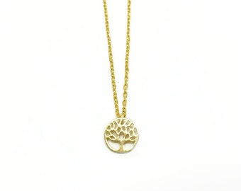 "Tiny Gold ""Tree of Life"" Necklace - Dainty, Simple, Birthday Gift, Wedding Bridesmaid Gift"