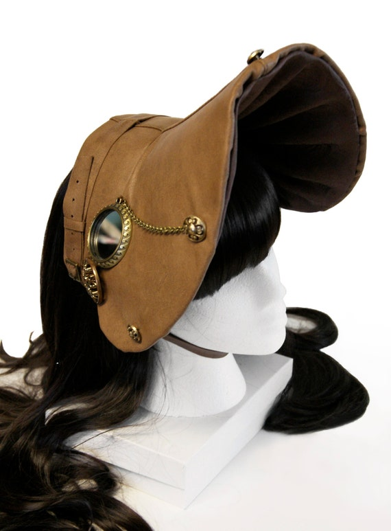 Genuine Leather Nautical Steampunk Bonnet - One of a Kind - Free Shipping