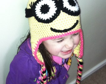 Yellow, Black, and Pink Minion Earflap Hat