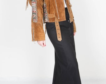 Vintage Brown Suede Leather Jacket / Southwestern 70s Leather Jacket / Fringed Cognac Brown / Women's Size Medium