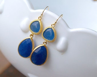 Blue and Gold Earrings - Dangle Earrings - Godl Boho Earrings - Bezel Set - Gifts - Blue Bridesmaid Jewelry - Royal Blue, Lapis Earrings