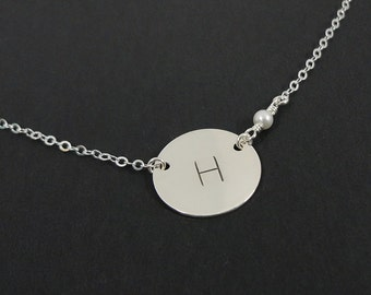 """Sterling Silver Initial Necklace with Swarovski Birthstone - 5/8"""" Initial Disc - Celebrity Style Initial Necklace - Personalized Jewelry"""