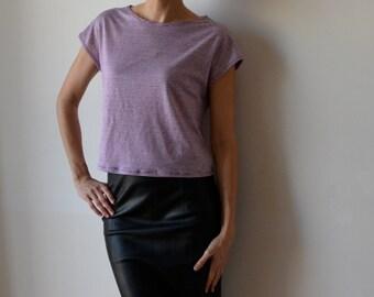 Burgundy ecru striped linen jersey t shirt / boxy t shirt / Cap sleeve / Made to Order