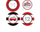 Firetruck Printable Cupcake Topper - Fireman Party Favor Tags - Firetruck Birthday Party kit - Firefighter Party Package