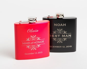 Personalized Bridesmaid Gift, Personalized Pink Flask, Engraved Pink Hip Flask, Groomsmen Flasks, Monogram Best Man Gift, Flasks