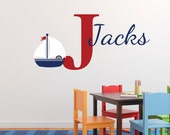 Nautical Nursery wall decal Child Personalized Sailor Anchor Boat Ship Monogram Vinyl Helm