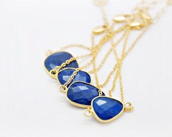 24k plated Framed Lapis Lazuli Bracelet