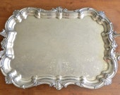 Vintage Silver on Copper Tray. X-Large Heavy Etched Platter. French Cottage Decor. Vintage Wedding.Shabby Chic Home