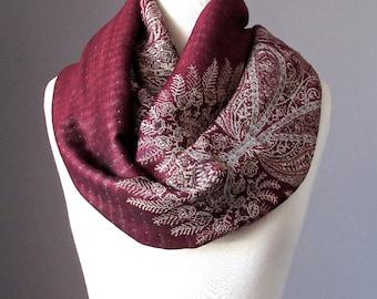 Fern infinity scarf in Burgundy , fall scarf