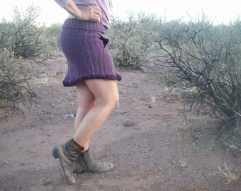 Lavender Sweater Skirt w/ felt-n-leather flower applique and pocket Up-cycled wool/acrylic