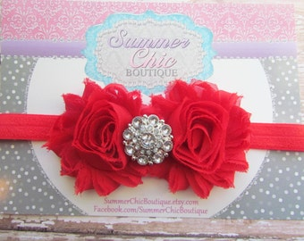 Baby Headband, Red Baby Headband, Infant Headband, Newborn Headband, Red Headband, Red Baby Headband, Shabby Chic Headband