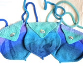SALE! Mermaid's Purse Shoulder Bag Hand Knit in Blues, Lilac & Turquoise with Paua Shell Button
