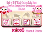 """Valentine's Day Treat Favor Gift Bags Mini 6""""x5"""" White Canvas Totes Children Kids Girls Boys Birthday School Party Baby Shower Set of 4 or 8"""