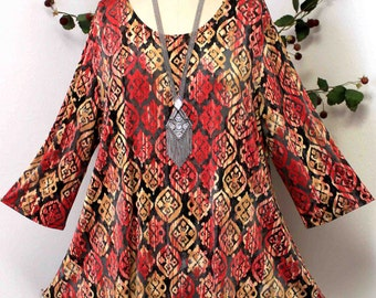 Dare2bstylish In Style Travelers Aztac Print Tunic top Small to 3XL. Plus Top, Asymmetrical Top Tunic