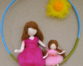 Girls mobile needle felted waldorf inspired : Mother and  daughter