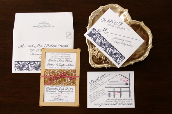 Blue Lace Wedding Invitation and Response Card made from Wood and Paper - DEPOSIT LISTING