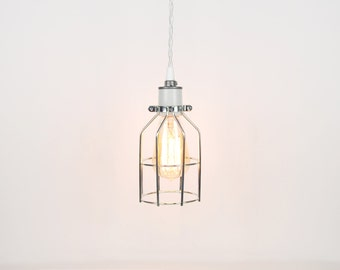 Open Wire Cage Pendant Light - White Porcelain Socket w/ Twisted Cloth Cord
