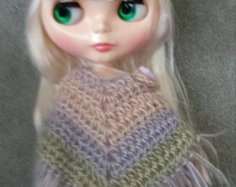 Ribbed Brim Cap Hat for Blythe Doll.  Choose your colorway Shown in Springtime Clothes Crochet Outfit